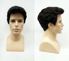 Mens Off Black Brushed Back Style Short Synthetic Wig
