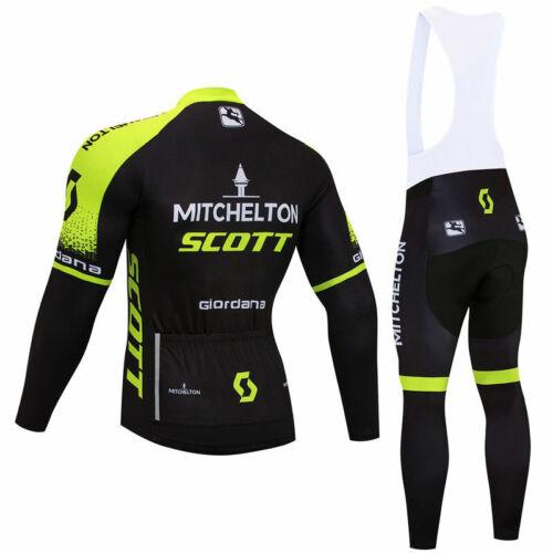 Men Cycling Jersey Long Sleeve Bib Pant Kit Bicycle Bike Shirt Team Set Clothes