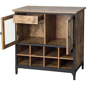Image is loading Wine-Storage-Cabinet-Kitchen-Rustic-Buffet-Vintage-Country-  sc 1 st  eBay & Wine Storage Cabinet Kitchen Rustic Buffet Vintage Country Sideboard ...