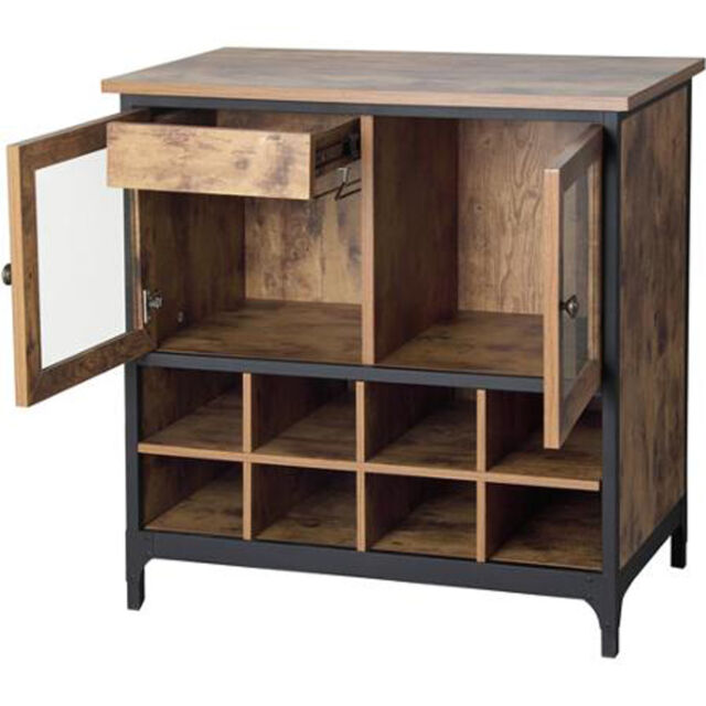 Pine Wood Kitchen Cabinets: Wine Storage Cabinet Kitchen Rustic Buffet Vintage Country