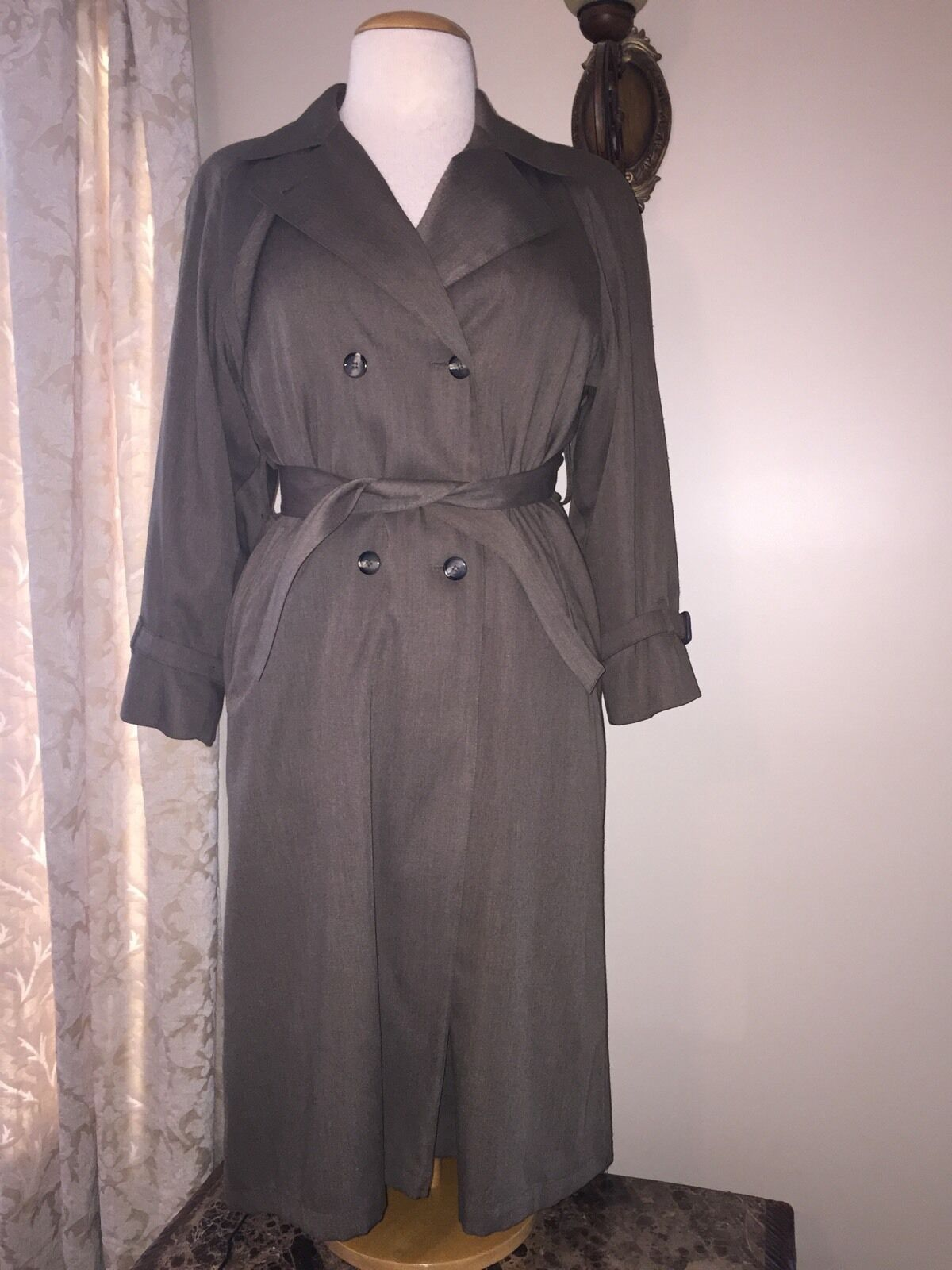 Women's 12p London Fog Double Breasted Trench Coat  Gabriella  Zip Out Lining