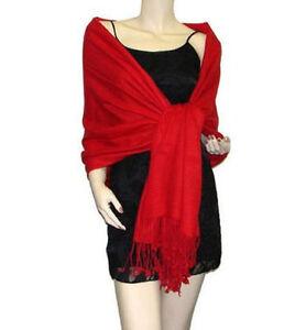 Echarpe étole châle scarf pashmina tissée 2 plis rouge sombre top ... 0dc47a7efd8