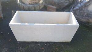 Vasi Bianchi Rettangolari Da Esterno.Dettagli Su Vaso Rettangolare In Cemento Bianco Fioriera Da Esterno Giardino 100x40x46 Cm