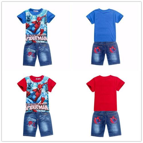 2PCS Kids Boys Spiderman Short Sleeve Coat+Denim Shorts Casual Sports Clothing