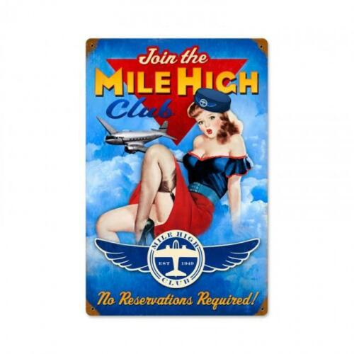 Pin Up Girl Mile High Club Metal Sign Man Cave Garage Hanger Shop Barn ha060