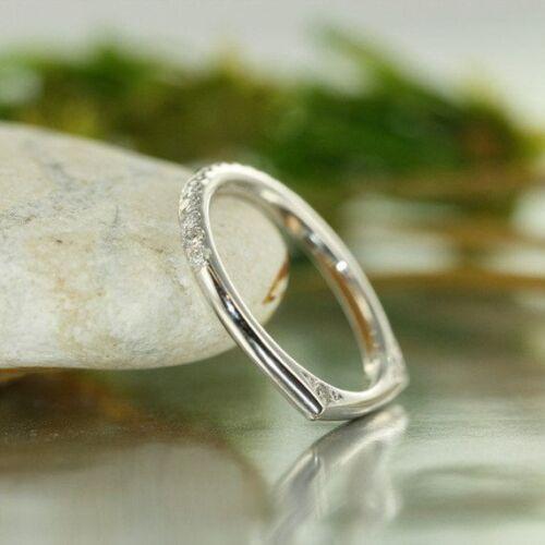 0.30 Ct Diamond Euro Style Shank Half Eternity Wedding Band 14k White Gold GP