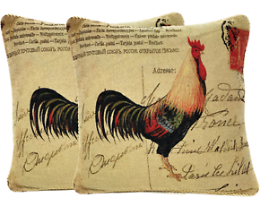 """2 PC 18/"""" Home Decor Vintage French Rooster Mail Love Throw Pillow Cushion Cover"""