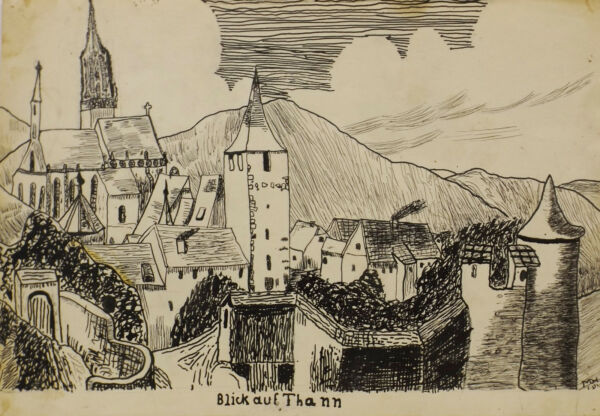 """ Blick Auf Thann Aspecto ""tusche.sign/ Dat. Con Hunsinger 05.12.42"