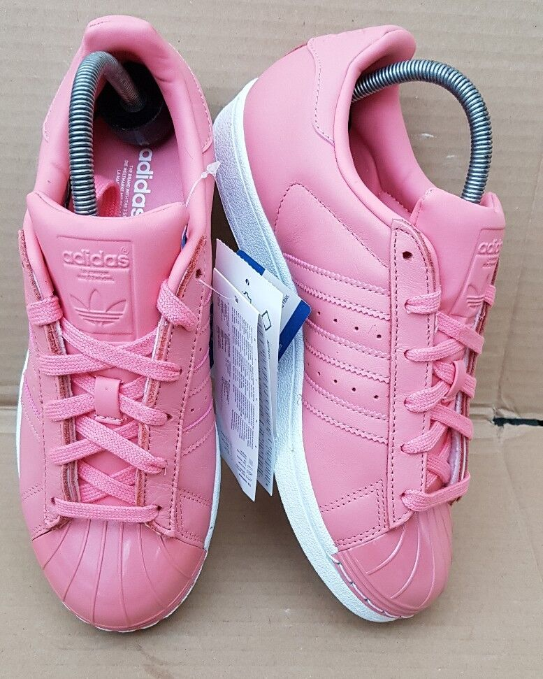 BNIB PINK GORGEOUS ADIDAS SUPERSTAR TRAINERS PINK BNIB GLOSS METAL TOE IN SIZE 5 UK NEW afde4b