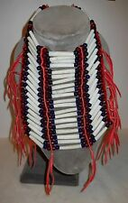 CHESTPLATE, DENTALIUM, BLUE & RED CROW BEADS, RED LEATHER FRINGE & TIES, NICE!