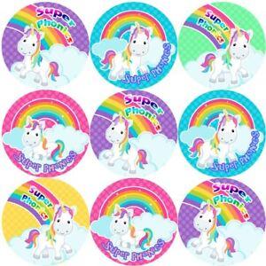 144-Phonics-Unicorni-30-mm-Reward-Adesivi-per-la-scuola-insegnanti-genitori-Nursery