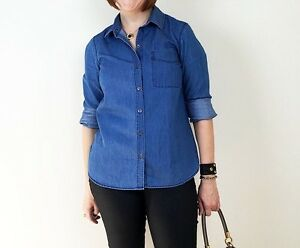 f249118e Old Navy Womens Classic Chambray Button Down Shirt Size Small S NWT ...