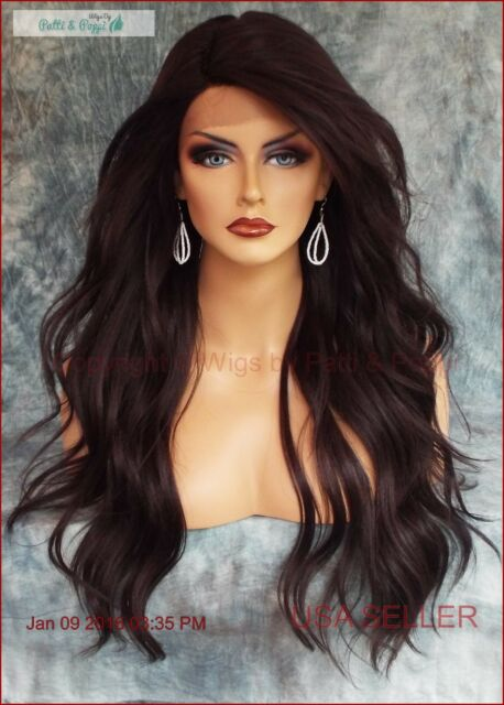 Long Loose Beach Waves Wig Lace Front Heat Safe Color 4 Brown Usa Er 464