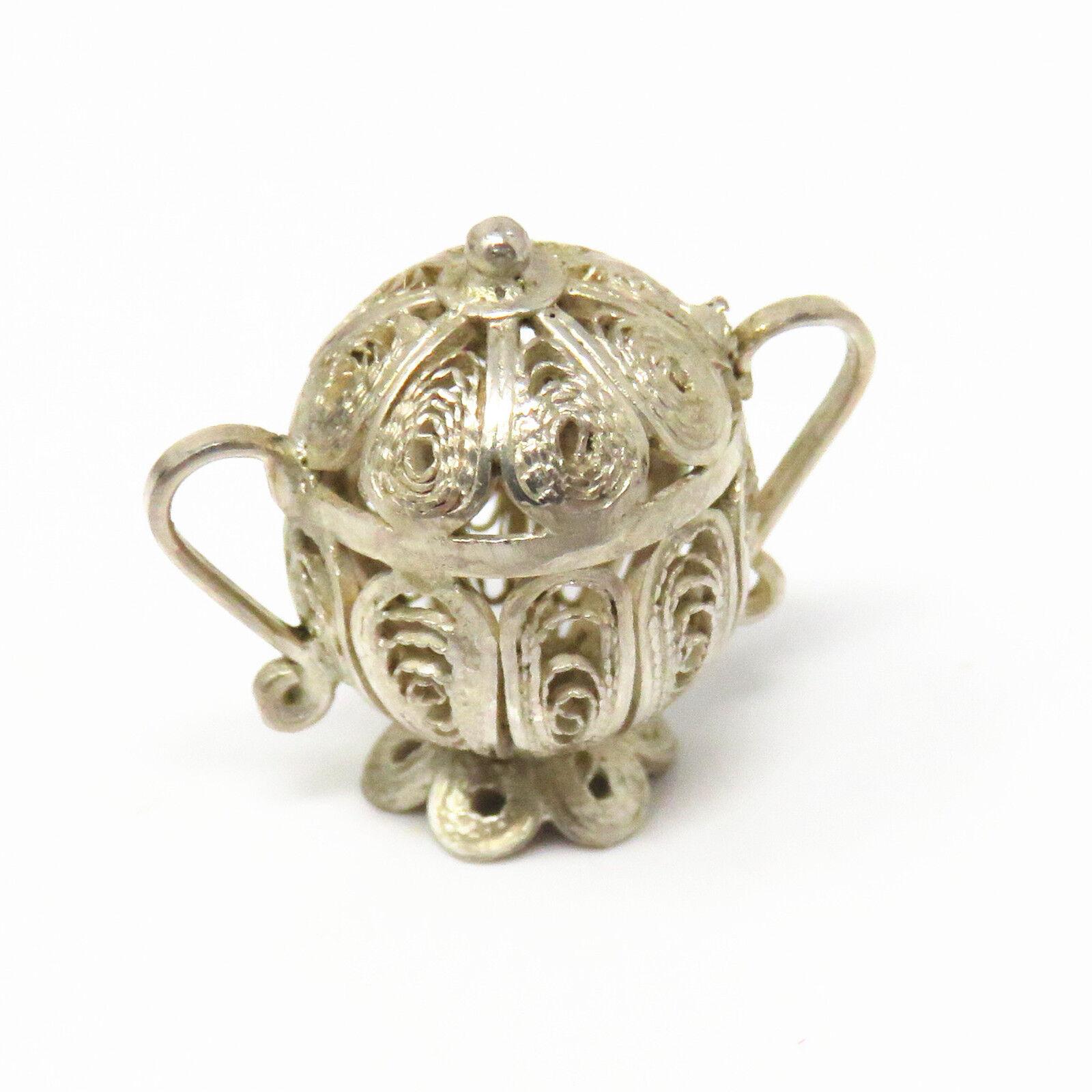 NYJEWEL Sterling Silver Antique Filigree Miniature Jar Pot Doll House  Furniture