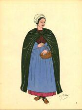 Gravure d'Emile Gallois costume des provinces françaises 1950 Berry