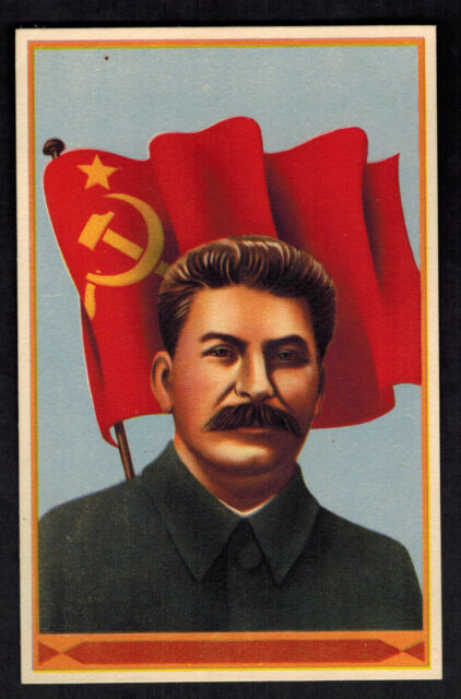 Mint Postcard Josef Stalin Portrait Artist Color with Red Flag USSR Russia