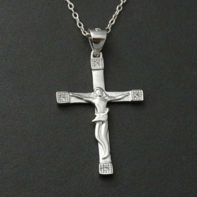 Crucifix Cross Necklace - 925 Sterling Silver - Jesus Catholic Cross Pendant NEW