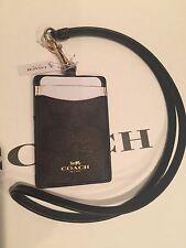Coach Lanyard Signature Leather PVC Badge Holder ID Case -NWT