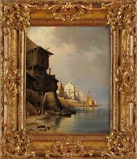 Bild gemälde Öl/Lwd, Hafenstadt signiert Kuwasseg, Charles Euphrasie Paris 1867