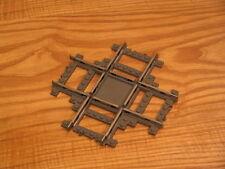 Lego train 4519 track crossing, cross track, 9v, 9 volt metal rails, dark gray
