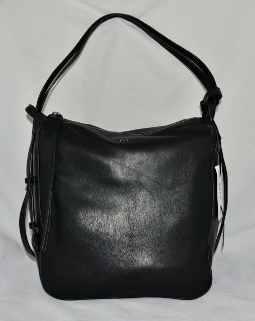 398 DKNY Item Soft Leather Hobo Convertible Slouch Hybrid Bag Purse New  Black 4794634cb4652