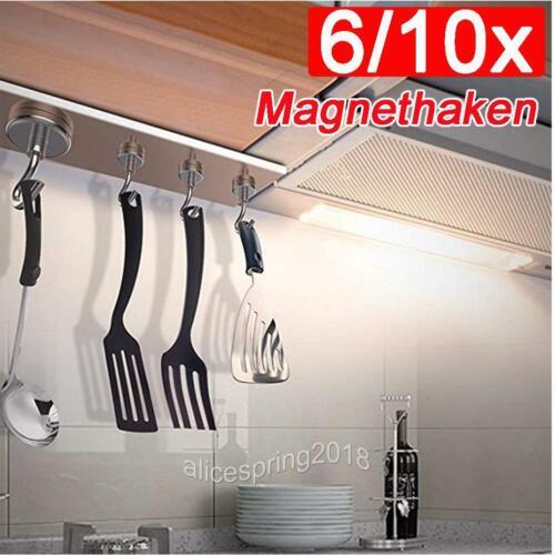 6//10x Starker Neodym Magnethaken Magnet Haken Set Haftkraft 6-22KG aus DE Neu