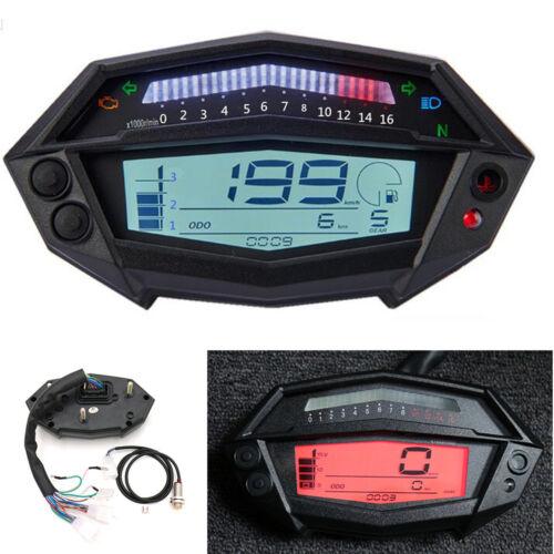 LCD Digital Motorcycle Speedometer Odometer Fuel Level Gauge 7 Colors Backlight