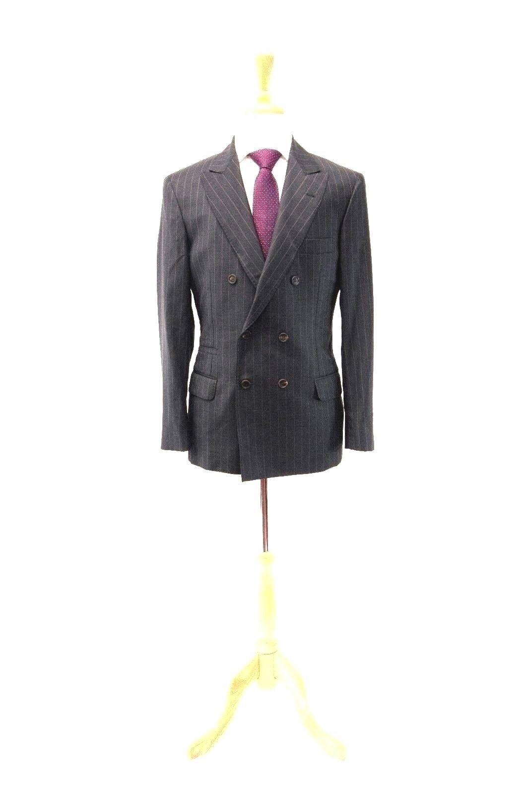 NWT4585 Brunello Cucinelli Men 100% Wool Pinstriped DB 2Pc Logo Suit 48/38 A181