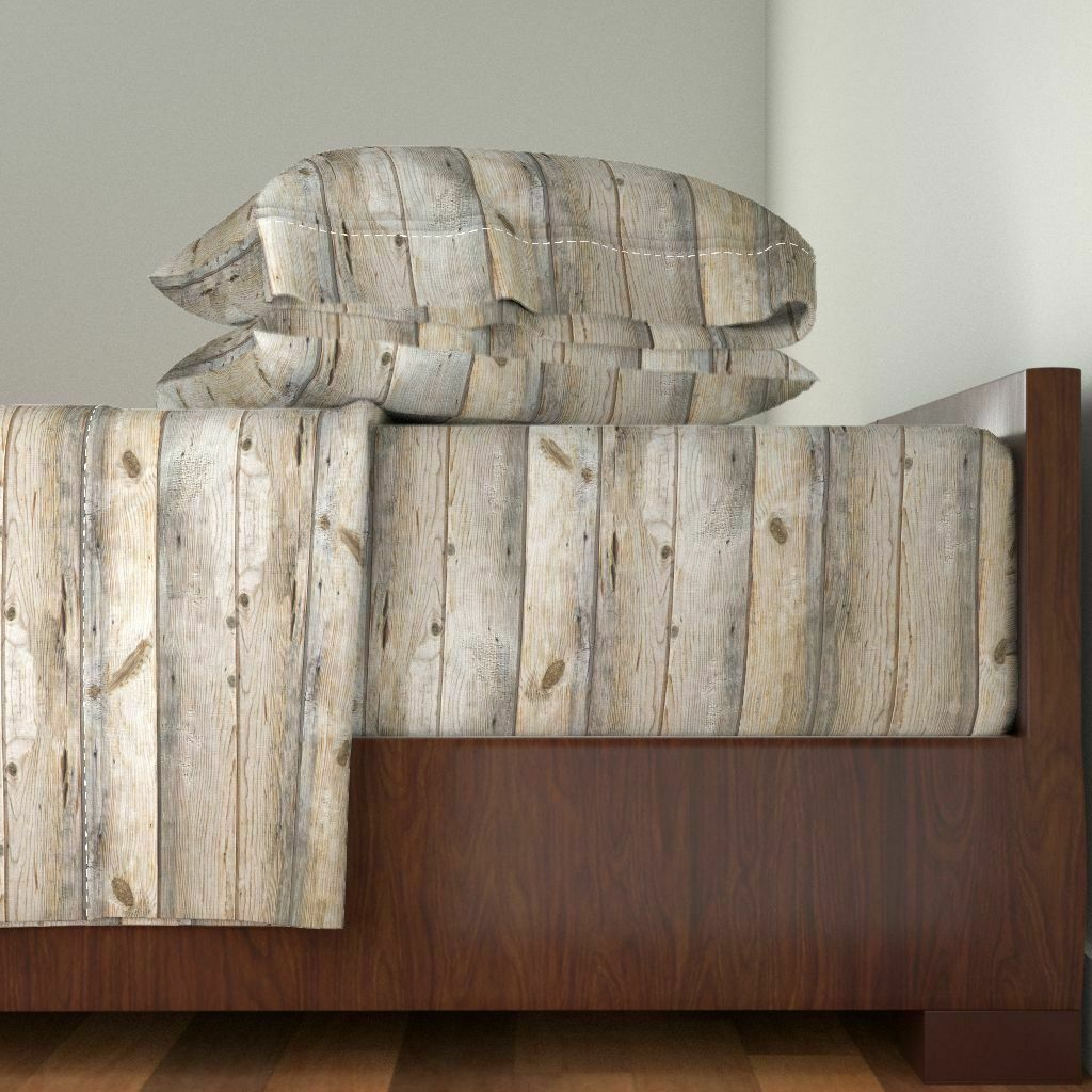 Wood Planks Woodgrain Planks 100% Cotton Sateen Sheet Set by Roostery
