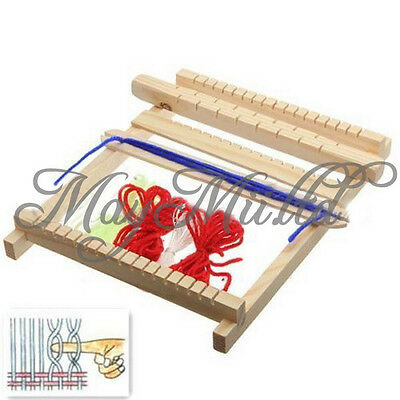 Medium Traditional Wooden Weaving Toy Loom with Accessories Childrens Craft Box