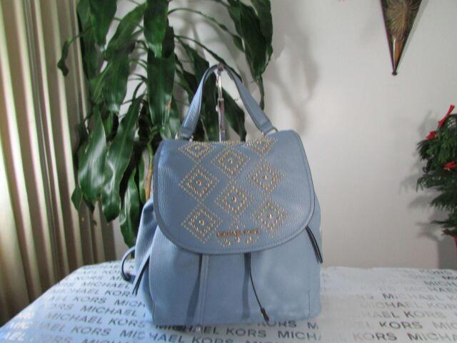 db5d3e895e51 Michael Kors Riley Large Leather Backpack Pale Blue Gold Studded Drawstring