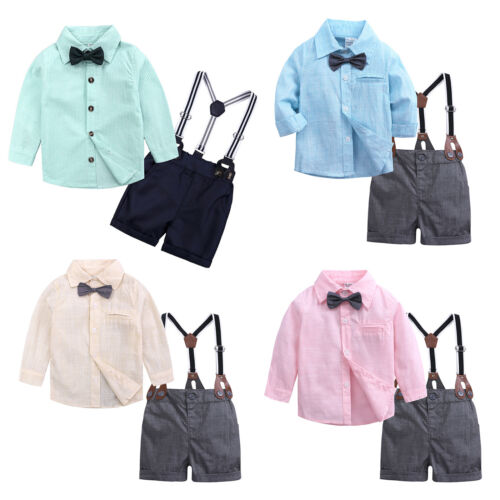 2pcs Baby Boys Gentleman Outfit Formal Party Wedding Bowtie Romper Shorts Suits