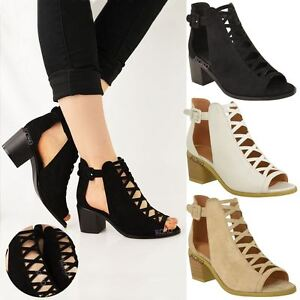 Details about WOMENS LADIES LOW WEDGE HEEL SANDALS LACE UP CUT OUT SHOES ANKLE STRAP SIZE