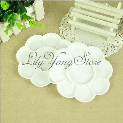 5pcs White Acrylic Color Mixing Paint Draw Nail Art Design Palette Dish Flower