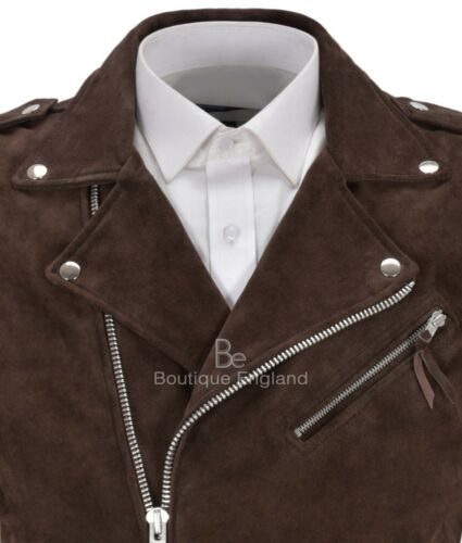 Style Men's Biker Steampunk Waistcoat Leather 1025 Brando Brown Motorcycle Suede W1wr1YqF