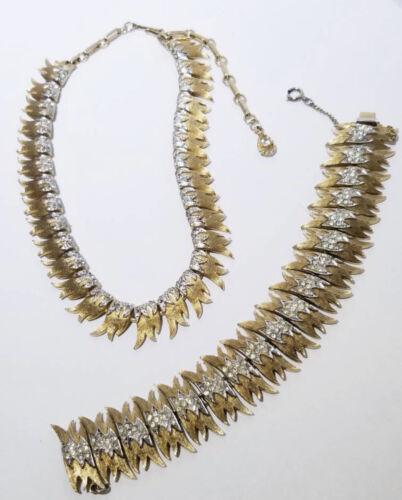 Vintage Francois Coro rhinestone necklace & bracel