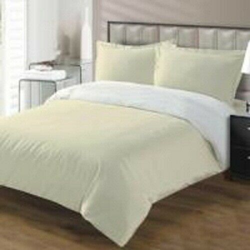 Reversible Duvet Set All Size 1000 TC 100% Cotton White & Ivory Solid