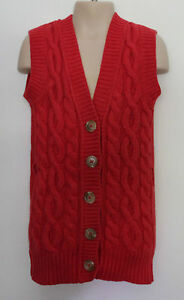 COUNTRY-ROAD-Girls-Tomato-Red-Winter-Wool-Cable-Knit-Sleeveless-Cardigan-5