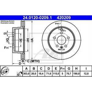 ATE 2x Disques de Frein Ventilé Recouvert 24.0120-0209.1