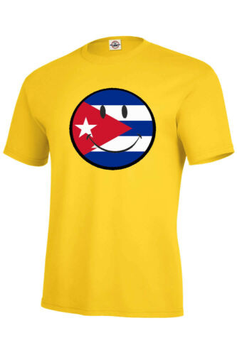CUBA FLAG SMILEY FACE T-SHIRT ASSORTED COLORS MAN SIZES S-5XL/&KIDS XS2-4-XL18-20