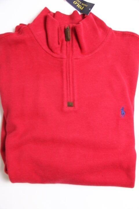 Ralph Lauren Polo Half Zip  ROT  Pony Sweater 2XL XXL XXLarge