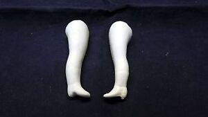 "Dolls Antique (pre-1930) Antique Porcelain Legs For Dollhouse Doll Lastic Fixing 2"" /germany"