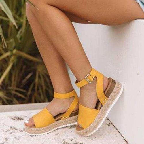 Hot Women/'s Flats Platform Wedge Sandals Open Toe Summer Ankle Strap Pumps Shoes