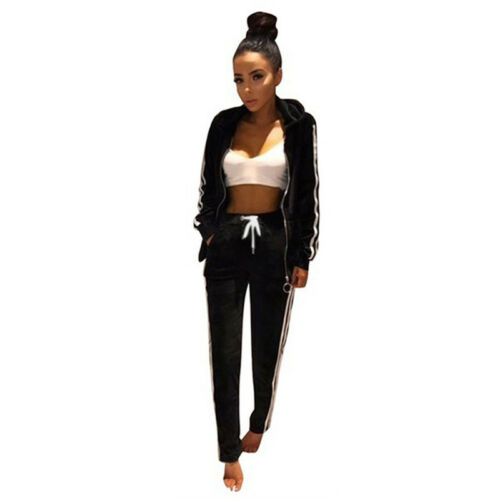 Women Two Piece Stripe Top /& Pants Velvet Suits Fitness Ssportswear Tracksuit