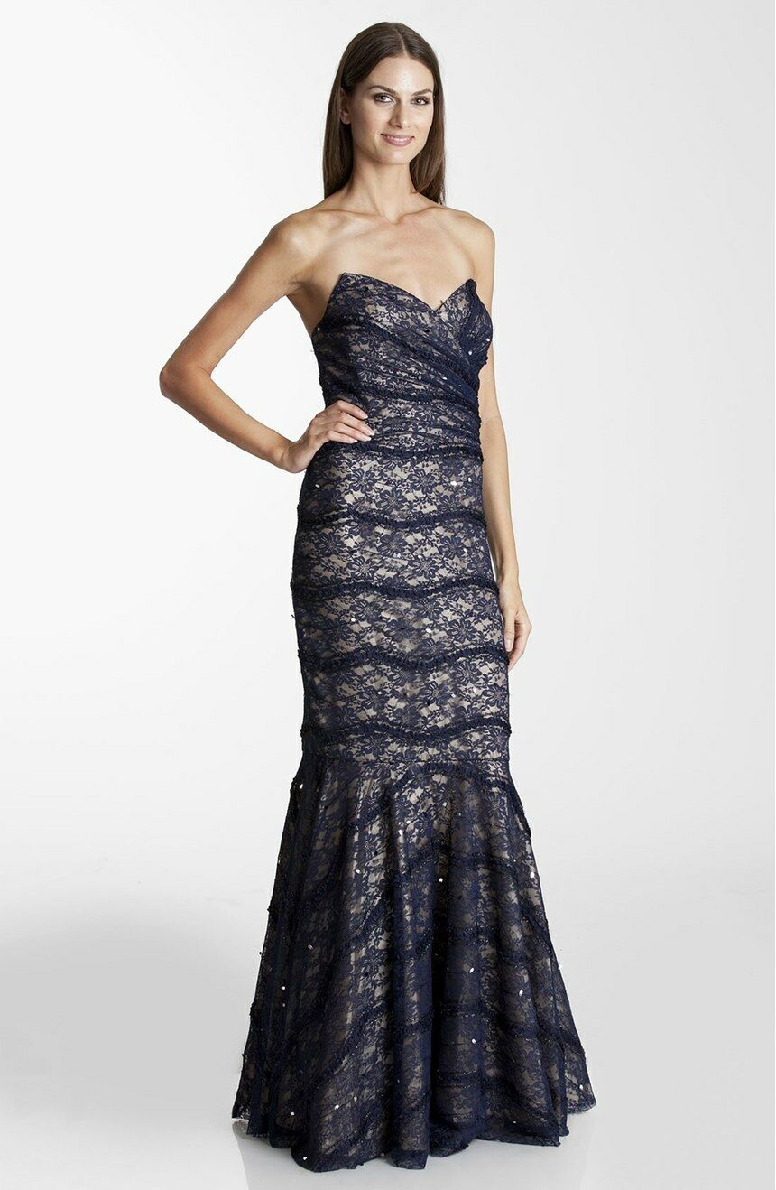375 JS Collections Strapless Lace Trumpet Gown Formal Wedding Prom  Navy Nude 6