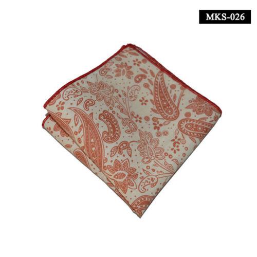 Men Cotton Paisley Flower Pocket Square Handkerchief Wedding Party Hanky 10''