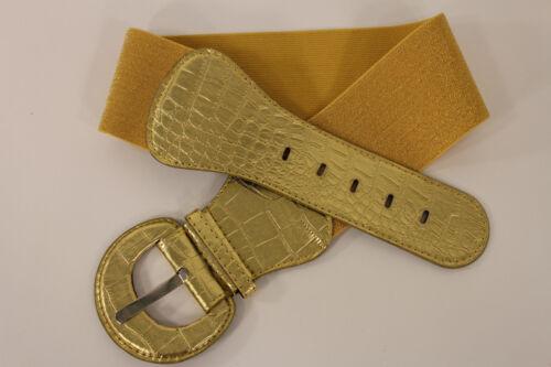 Women Fashion Belt Metallic Gold Elastic Hip High Waist Stretch Wide Waistband