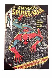 AMAZING-SPIDER-MAN-100th-Anniversary-MARVEL-Wood-WALL-ART-13-039-039-x-19-039-039
