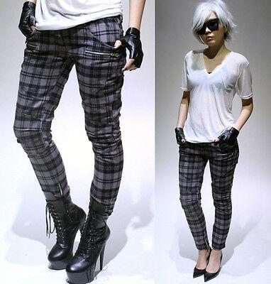 RTBU Punk Biker Armor Zipper Insert Cigarette Skinny Tartan Ankle Jeans Pants