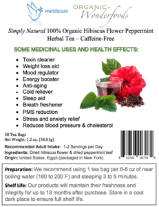 Simply Natural 100 Organic Hibiscus Flower Peppermint Herbal Tea